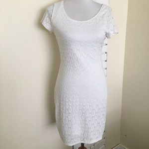 Isaac Mizrahi White Dress Scoop Eyelet Lace M